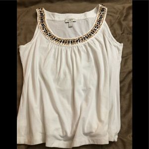 Sleeveless blouse with beaded edging